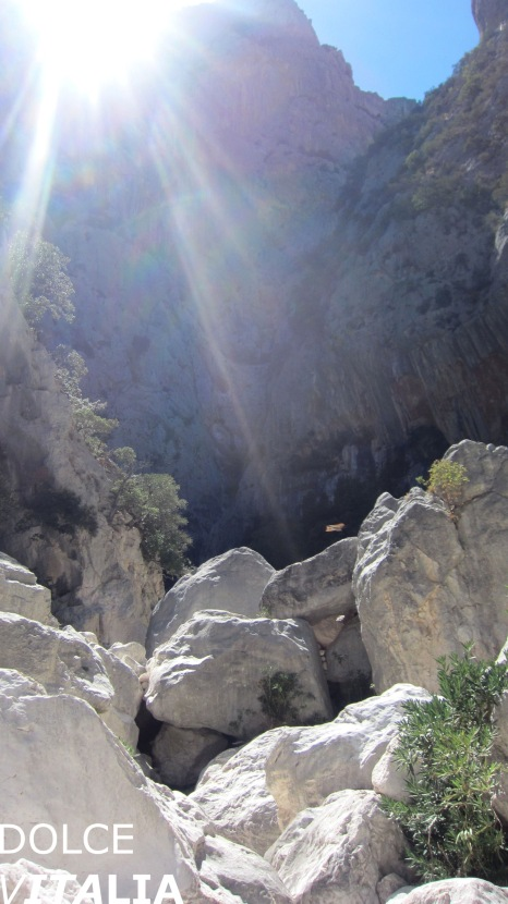 The sun is still to see before it hide behind half a kilometer high walls of Gorropu canyon