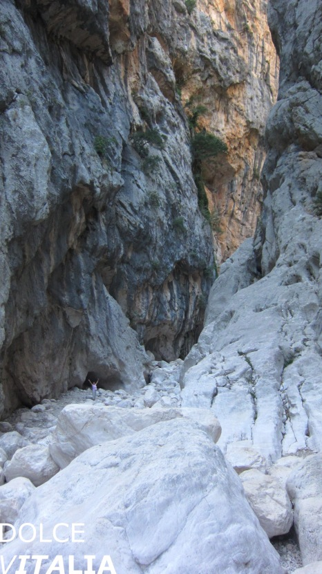 Huge boulders and high walls of Gorropu canyon